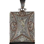 Antique Victorian Silver Scottish Gold Box Locket Circa 1880