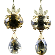 Antique Scottish Citrine Earrings 18ct Gold