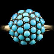 AntiqueGeorgian Turquoise Boule Ring 18ct Gold