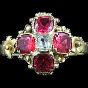 Antique Georgian Pink Paste Aquamarine Ring 18ct Gold