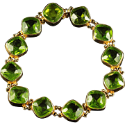 Antique Victorian Paste Bracelet Green Paste Stones Circa 1880