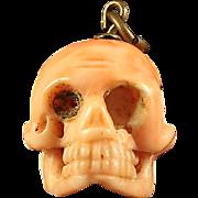 Antique Georgian Memento Mori Skull Coral Pendant 1800's