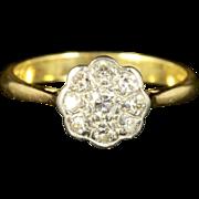 Antique Edwardian Diamond Cluster Ring 18ct Gold