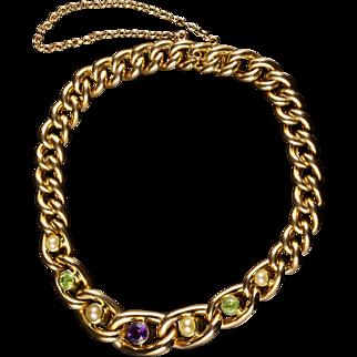 Antique Suffragette Gold Bracelet 15ct Gold Circa 1900