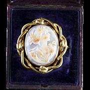 Antique Boxed Gold Cameo Swivel Brooch Circa 1900