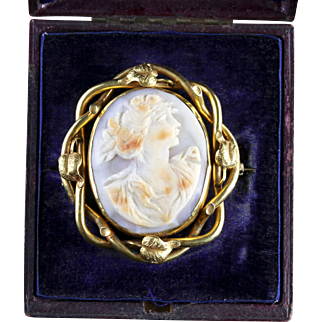 Antique Boxed Gold Cameo Swivel Brooch Circa 1900