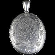 Antique Victorian Silver Locket Engraved Circa 1880