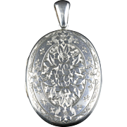Antique Victorian Silver Locket Engraved Circa 1880