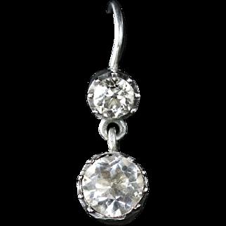 Antique Georgian Earrings Double Drop Sterling Silver