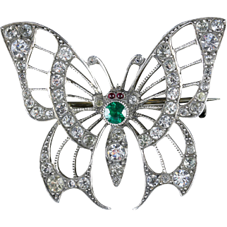Antique Victorian Paste Silver Butterfly Brooch Circa 1900