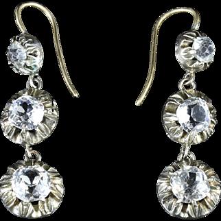Antique Georgian Long Paste Earrings Circa 1800 Silver Gold