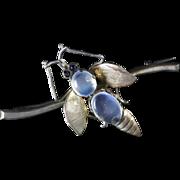 Antique Victorian Moonstone Silver Insect Brooch Circa 1900