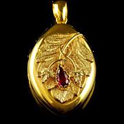 Antique Victorian Almandine Garnet Gold Locket Circa 1880