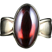 Antique Victorian Cabochon Garnet Ring Circa 1900