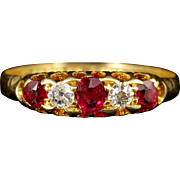 Antique Victorian Ruby Diamond Ring Gypsy Set 18ct Gold Ring