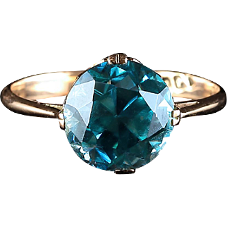 Antique Victorian Blue Zircon Ring 5.60ct Yellow Gold