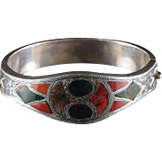 Antique Scottish Silver Bangle Beautiful Plaid Agates Circa 1860