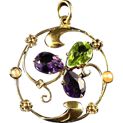 Antique Victorian Suffragette Pendant Three Leaf Clover Amethyst Peridot 9ct Gold Circa 1900
