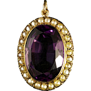 Antique Victorian Amethyst Pearl Pendant 15ct Gold