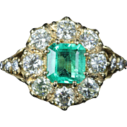Antique Victorian Emerald Diamond Ring 18ct Gold Cluster Ring