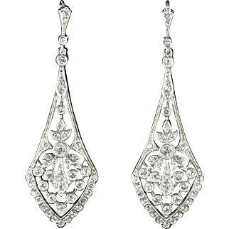 Art Deco Long Paste Earrings Silver Gold Perfect for a Wedding