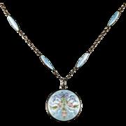 AntiqueEdwardian Enamel Necklace and Locket Circa 1910 Suffragette