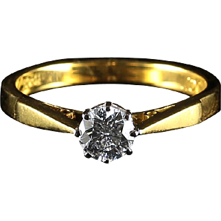 Antique Victorian Diamond Solitaire Ring Engagement Ring 18ct Gold
