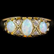 Antique Victorian Opal Diamond Ring 18ct Gold Circa 1900