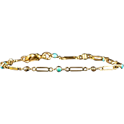 Antique Victorian Turquoise and Pearl Gold Bracelet