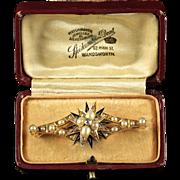 AntIque Diamond Pearl Brooch in Original Box 18ct Gold Blue Enamel