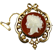 Antique Victorian Hardstone Cameo Brooch 15ct Gold Pearls