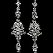 Georgian Long Paste Silver Earrings