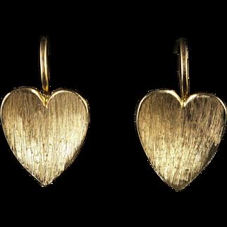Antique Victorian Gold Heart Earrings Circa 1900