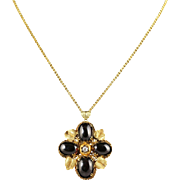 Antique Victorian Garnet Diamond Pendant 18ct Gold Necklace Circa 1900