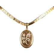 French Gold Collar and Diamond Locket 18ct Gold Encrusted With Diamonds 1950