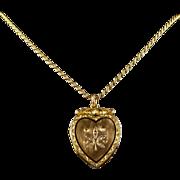 Antique Victorian Diamond Locket Heart Locket and Chain 15ct Gold