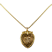 Antique Victorian Diamond Locket Heart Locket and Chain 15ct Gold