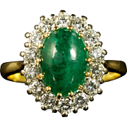 Antique Victorian Emerald Diamond Ring Cluster Ring 18ct Engagement Ring