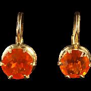 Antique Victorian Fire Opal Gold Earrings Circa 1900