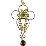 Antique Victorian Suffragette Gold Pendant Peridot Amethyst and Pearl Circa 1900