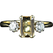 Antique Edwardian Yellow Sapphire Diamond Ring 18ct Gold