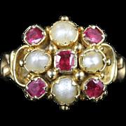 Antique Georgian Ruby Pearl Ring 18ct Gold Circa 1800
