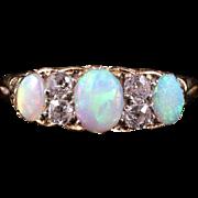 Antique Victorian Opal Diamond Ring 18ct Gold Circa 1880