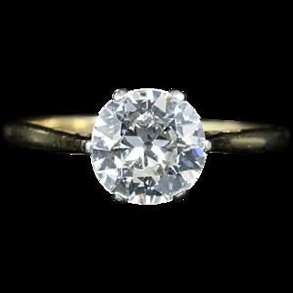 Antique Victorian Diamond Solitaire Ring 1.25ct