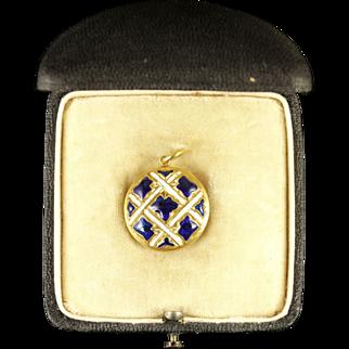 Antique Victorian Gold Locket Original Box Blue and White Enamel