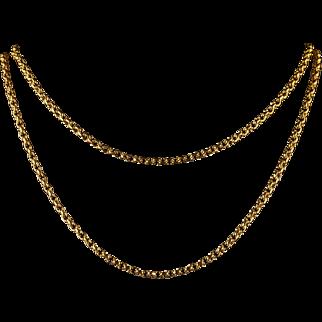 Antique Victorian Long Gold Guard Chain Circa 1900