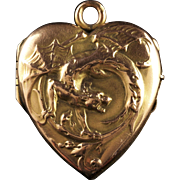 Antique Victorian Gold Dragon Locket Circa 1900