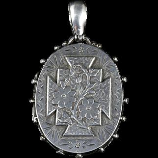 Antique Victorian Silver Locket Dated Birmingham 1885