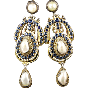 Antique Victorian Long Sapphire Baroque Pearl Earrings