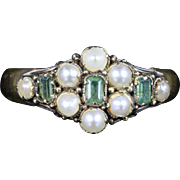 Antique Georgian Emerald Pearl Ring 18ct Gold Circa 1821